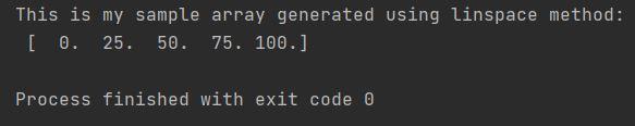 Numpy evenly sample array linspace method