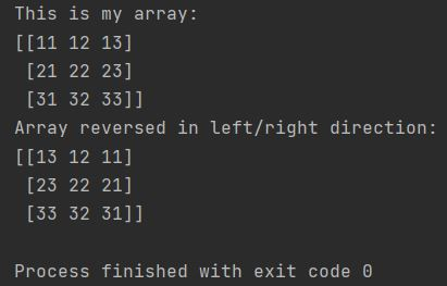 Numpy reverse array left right direction