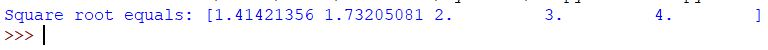 numpy square root