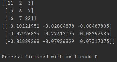 python numpy inverse matrix