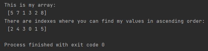 Numpy argort index sort