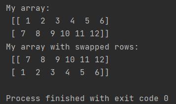 Numpy array swap rows