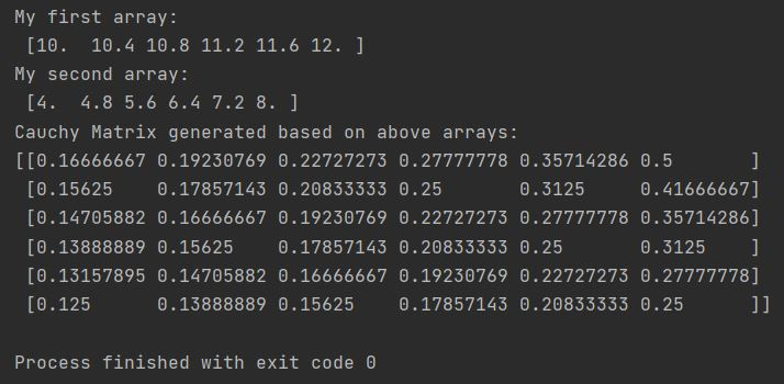 Numpy cauchy matrix from arrays