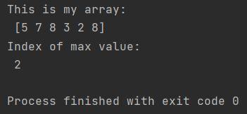 Numpy index of max value