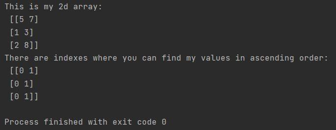 Numpy sort indexes of 2d array
