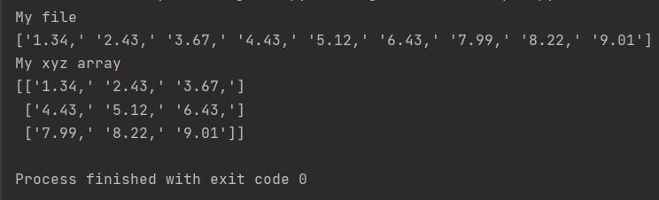 Numpy xyz file format