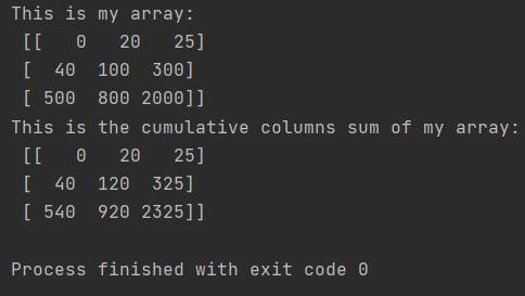 python cumulative column sum Numpy cumsum