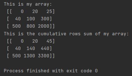 python cumulative rows sum Numpy cumsum