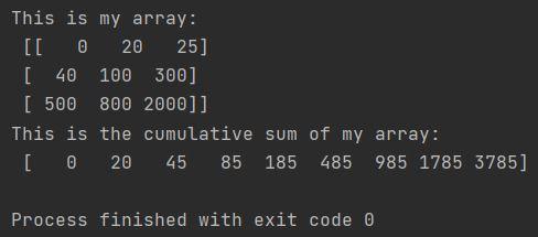 python cumulative sum numpy cumsum