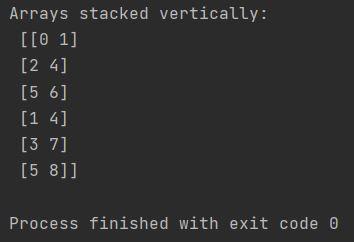 stack array vertically numpy vstack