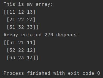 Numpy array rotate 270 degrees
